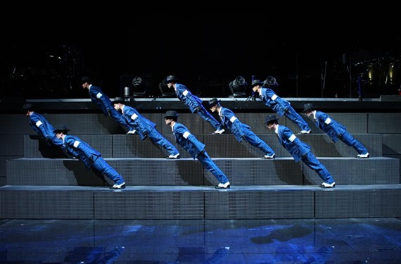 "A scene during the performance of the MJ song ""Smooth Criminal"" by Cirque dul Soleil."