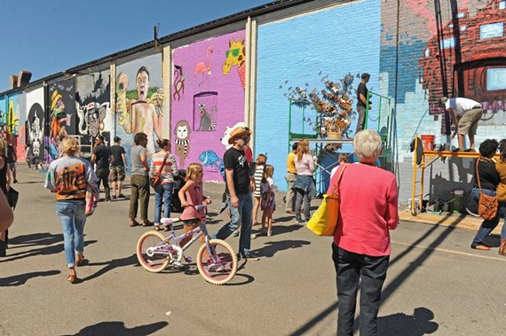 A scene from last weekend's Richmond Street Art Festival at the GRTC's old bus depot on the corner of Cary and Robinson streets.