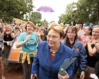 A week after Teresa Sullivan was forced to resign as president of the University of Virginia, students and faculty rally behind her June 18.