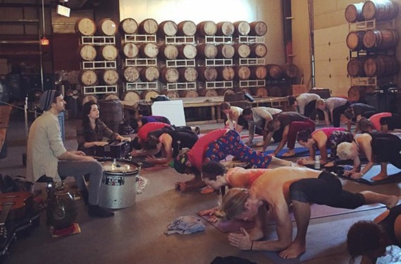 A yoga event at Hardywood Park Craft Brewery featuring Lobo Marino. - ARIELE FOSTER