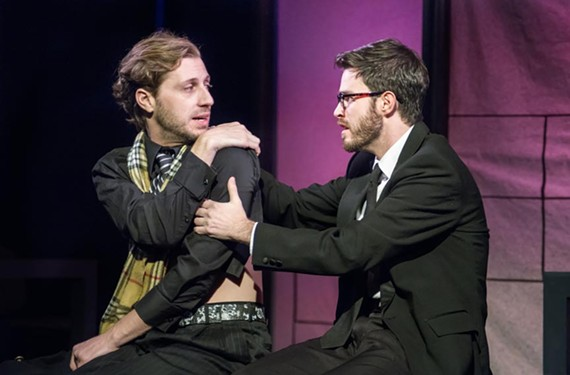"Actor Matt Shofner as Prior Walter and Deejay Gray as Louis, his lover who has left him after an early AIDS diagnosis in ""Angels in America: Millennium Approaches."""