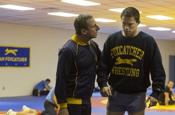 """Actor Steve Carell gives a powerful performance as John du Pont and Channing Tatum plays Olympic wrestler Mark Schultz in the true crime drama, """"Foxcatcher."""" The film, partly shot at Morven Park in Leesburg, won best director honors for Bennett Miller at the Cannes Film Festival."""