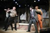 "Actors Jeremy Howard, David Bridgewater, Adrian Rieder and Ronnie Brown throw down in Virginia Rep's ""Scorched Earth,"" a production of David Robbins' novel."