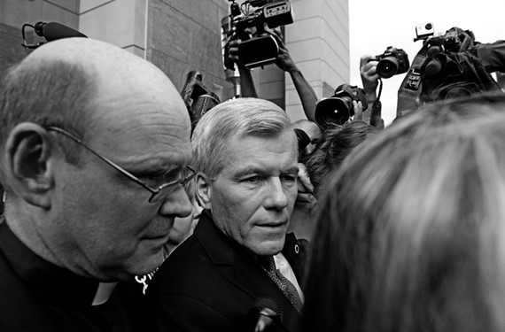 After a jury convicts him on 11 of 14 corruption-related counts, former Gov. Bob McDonnell emerges from the federal courthouse Sept. 4 surrounded by a crush of news media, observers and supporters.