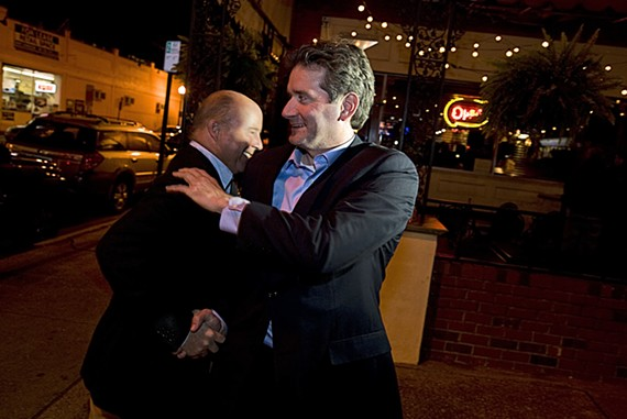 After eking out an apparent victory, Jon Baliles greets a well-wisher outside of Caliente. - BY ASH DANIEL