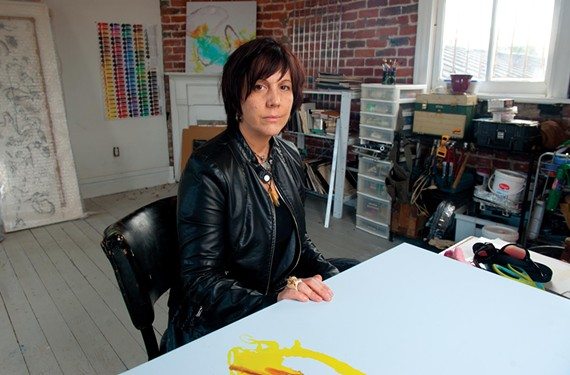 After finding success with her splatter paintings, Trepanier is trying new techniques with ink in her Lovebomb studio - SCOTT ELMQUIST