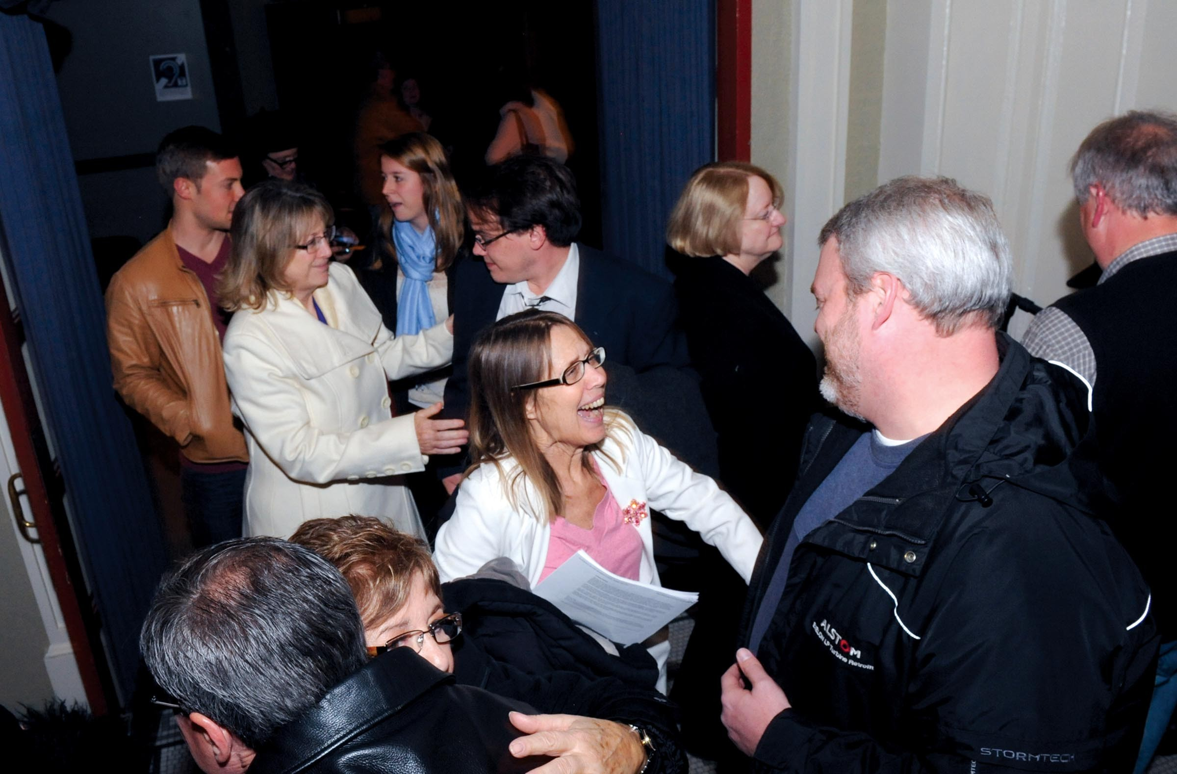 After her ouster from the Firehouse, Carol Piersol greets well-wishers Dec. 22 during a rally in her honor at the November Theatre. - SCOTT ELMQUIST