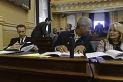 All alone: Joe Morrissey on the floor of the House of Delegates Wednesday. - SCOTT ELMQUIST