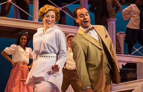 """Amanda Johnson as Marian Paroo and Larry Cook as the protagonist professor, Harold Hill, in the musical """"The Music Man,"""" originally a Broadway hit in 1957. - AARON SUTTEN"""