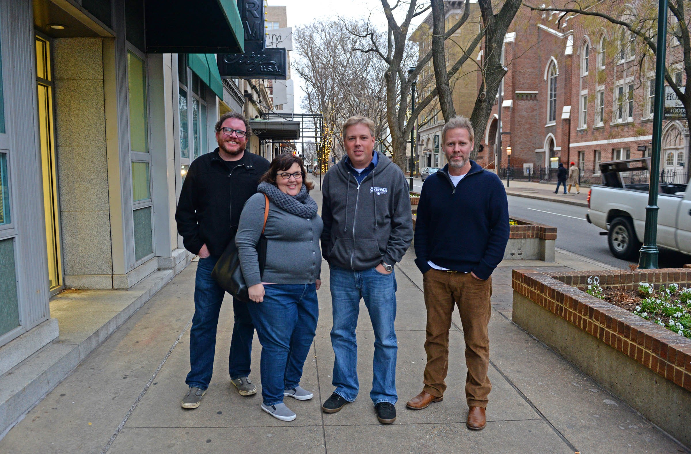 Among those drawing diners to Grace Street are Jason Alley and Michele Jones, of Pasture, and cousins Travis and Ryan Croxton of Rappahannock. - SCOTT ELMQUIST