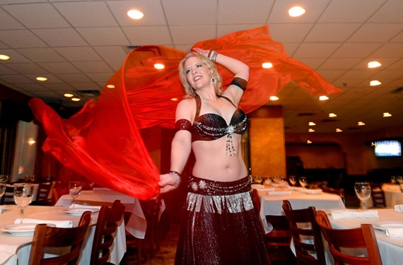 "Amy ""Kiyaana"" Limbrick is one of the Nora dancers who makes sure there's entertainment with your meal every Friday and Saturday night."