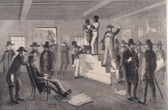 An 1861 sketch by London News correspondent G.H. Andrews depicting a man and woman with a child on an auction block, which accompanied an article describing slave sales in Richmond.