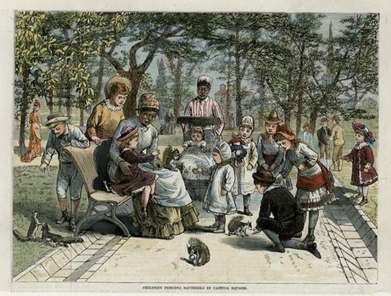 An 1885 book of Southern scenes features a wood engraving of the squirrels in Capitol Square. The book says the squirrels were so tame they ventured into a visitor's pockets in search of peanuts. - SKETCHES OF SOUTHERN SCENES/LIBRARY OF VIRGINIA