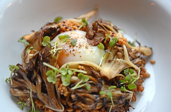 An egg from Harmony Hill Farms sits on top of rye berry risotto, and maitake and pickled enoki mushrooms. - SCOTT ELMQUIST