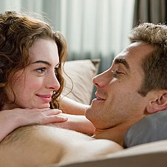"""I can't quit you."" Anne Hathaway and Jake Gyllenhaal debate pharmaceuticals and product placement in the awful ""Love and Other Drugs."""