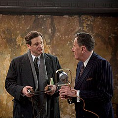 """Say what?"" Geoffrey Rush's eccentric therapist (right) coaches Colin Firth's stammering monarch in ""The King's Speech."""