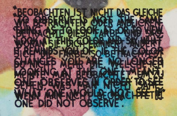 """""""Art = Text = Art"""" paints pictures with words. Among the works on display: Mel Bochner's """"If the Color Changes...,"""" from 2003, a monoprint with engraving and embossment on hand-dyed Twinrocker handmade paper."""