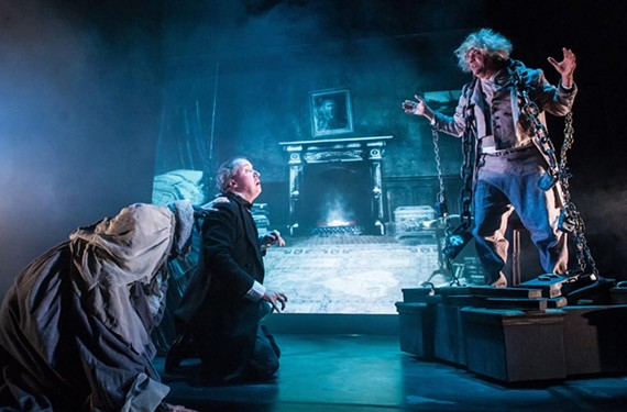 """Andrew Hamm plays Scrooge and Jeff Clevenger is Marley in a loyal and refreshing """"Mr. Dickens' Christmas Carol"""" by Richmond Shakespeare and Henley Street Theatre."""