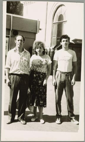 """Anna Cherkis with her husband, Simon, and son, Alexander, in Kishinev, Republic of Moldova,"" 1992, photograph, 6 by 3½  inches, collection of Anna Cherkis."
