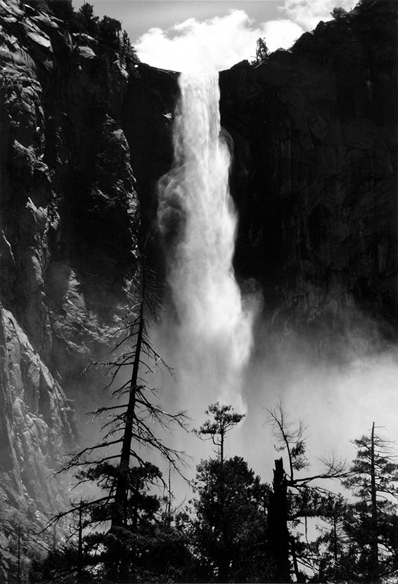 "Ansel Adams' ""Bridalveil Fall,"" from 1952, one of the stunning prints seen at the Virginia Museum of Fine Arts' new photography exhibition, ""The Majestic and the Mundane."""