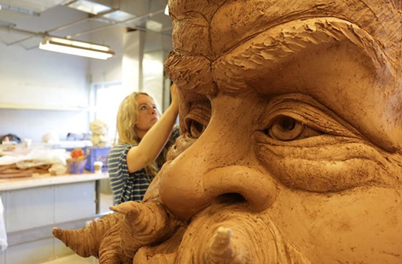 "Artist and professor Andréa Keys Connell works on her large-scale commission ""Winter Wind"" depicting the head of Old Man Winter for a 17-acre garden in Delaware."