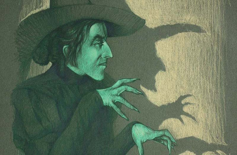 "Artist Rob Sheley's show, ""Things That Go Bump in the Night,"" includes depictions of such beloved movie creatures as Frankenstein, the Mummy and, shown here, the Wicked Witch of the West. These monsters aren't evil, just misunderstood, he says."
