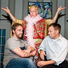As the Christmas fairy, Ford Flannagan comes between happy couple Keith Fitzgerald (left) and Trevor Kimball in the Richmond Triangle Players' hilarious new holiday play.