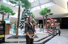 Ashley York Venable, manager of Chesterfield Towne Center, in front of the Santa's perch last week. The mall has managed to stay competitive by luring nontraditional retailers, and expects customer traffic to reach 6.5 million this year. - SCOTT ELMQUIST