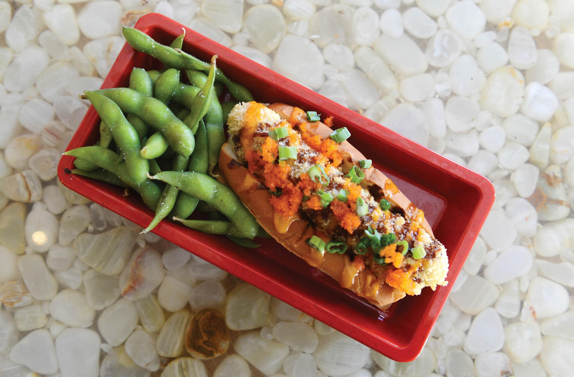 At A2 downtown, the signature bento dog is crispy tempura with Japanese mayo, nori flakes and teriyaki sauce. - SCOTT ELMQUIST