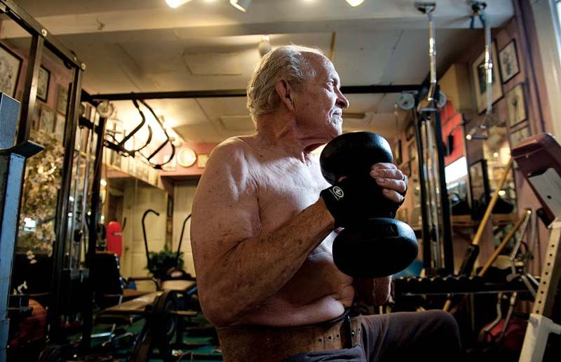 At age 77, Steinborn still works out three times a week at his home gym in The Fan. - SCOTT ELMQUIST