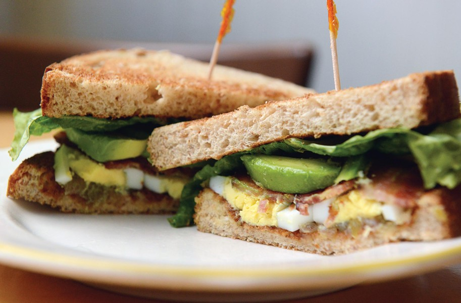 At Garnett's Cafe in the Fan, three new sandwiches honor seniors on the VCU basketball team. This one, the No. 10, combines bacon with hard-boiled egg, green tomato relish, lettuce and avocado on toasted wheat bread. Fans will know that the jersey number correlates with player Darius Theus. - SCOTT ELMQUIST