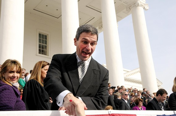 At his swearing-in ceremony, Attorney General Ken Cuccinelli begins his hard-right odyssey meeting and greeting supporters at the state Capitol. - SCOTT ELMQUIST