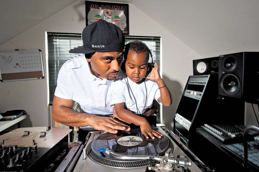 """At home, DJ Danja Mowf and his son Jordan do a little father-and-son beat matching. """"I was told to find something I love to do and get paid for it."""" - SCOTT ELMQUIST"""