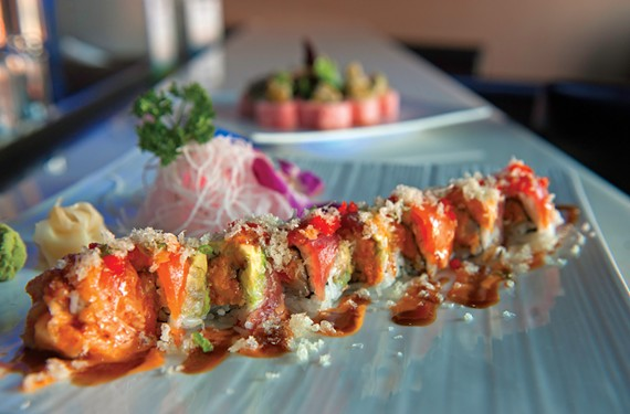 At Level on West Broad Street, the dynamite roll combines spicy scallop, avocado, tuna and salmon with a crunchy topping. It's among the sushi highlights at this new fusion restaurant and lounge.