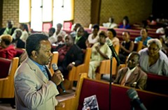 At Mt. Calvary Baptist Church in Fulton in late July, Brown makes his stump speech. - ASH DANIEL
