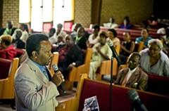 At Mt. Calvary Baptist Church in Fulton in late July, Brown makes his stump speech. - ASH DANIEL