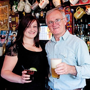 At Rosie Connolly's Pub, manager Helen Emerson and her father Tommy Goulding always expect a crowd for St. Patrick's Day and they get one. But it's easier to hear Goulding's witticisms on other nights of the year.