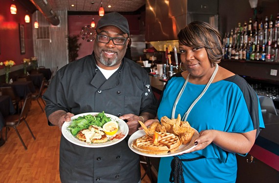 At Sarahfran's in Church Hill, Elliott Cox and Sonya Williams take pride in the crab cakes with arugula and house-made remoulade and the chicken and waffles.