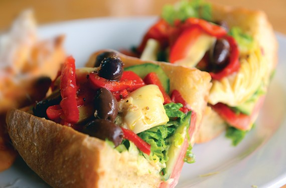 At Stella's, vegans can find several choices including the hummus and artichoke sandwich with roasted red pepper, Kalamata olives, tomato, cucumber and vinaigrette on a baguette. - SCOTT ELMQUIST
