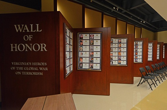 At the Virginia War Memorial, a wall commemorates nearly 300 Virginians killed in the War on Terrorism. - SCOTT ELMQUIST