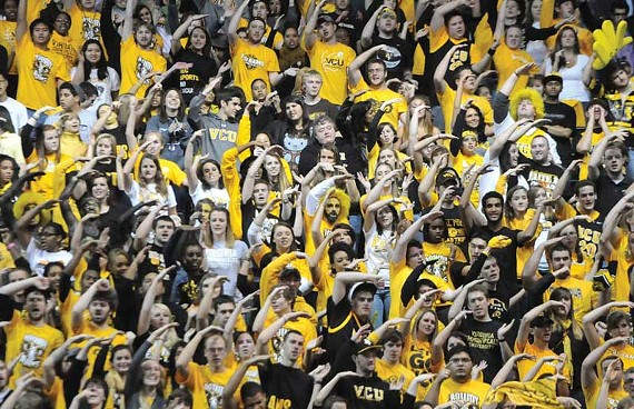 At times crude but always loud and imposing, VCU students pack the Siegel Center for the game against the University of Richmond on Dec. 9.