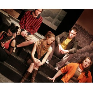 """Audra Honaker, Jacob Pennington, Ali Walton, Kyle Cornell and Maggie McGrann contemplate a dark and stormy night in """"Dog Sees God."""""""