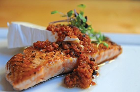 Bacon jam from Camden's Dogtown Market is served with salmon and brie, all prepared by chef Andy Howell at his Manchester restaurant.