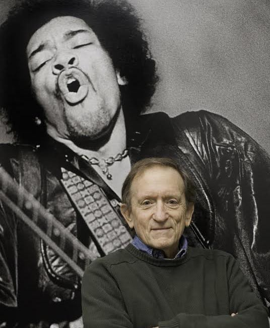 Baron Wolman, who worked for Rolling Stone magazine in the late 60s, stands in front of one of his iconic images of guitarist Jimi Hendrix. Wolman now lives in Santa Fe, New Mexico.