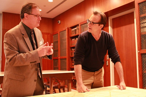 "Bill Paxton studying his family history with local historian Gregg Kimball in an upcoming episode of ""Who Do You Think You Are?"" airing on TLC on April 19."