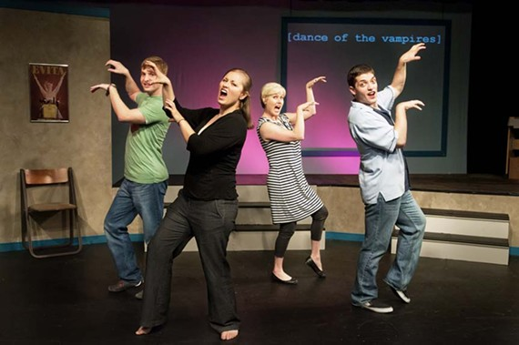 """""""Bite me!"""" From left, Chris Hester, Lanaya Burnette, Georgia Rogers Farmer and Daniel Cimo show their fangs in Richmond Triangle Players' whimsical """"[title of show]."""" - JOHN MACLELLAN"""