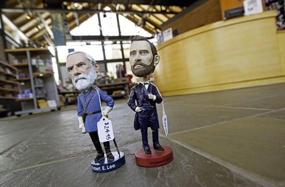 Bobble heads of Confederate Gen. Robert E. Lee and Union Gen. Ulysses S. Grant on display in the gift shop at the American Civil War Center at Historic Tredegar.