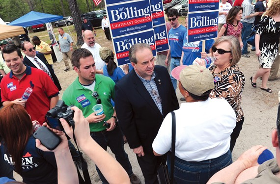 Bolling talks to voters at the Shad Planking, an annual political event near Wakefield that draws politicos from across the state. - SCOTT ELMQUIST