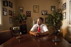 Brown's interview room at WCLM-AM 1450, where he broadcasts his daily radio show, in a building next door to his used-car business at 32nd and Hull. - SCOTT ELMQUIST