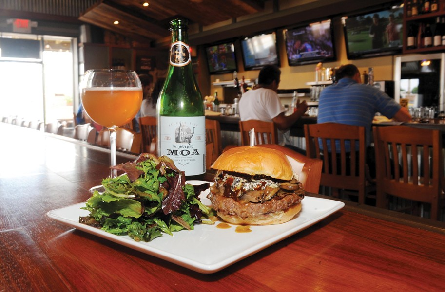 Burger Bach's Wellington burger is loaded with mushrooms, onions and New Zealand blue cheese; the beer is a Moa St. Joseph's tripel, also from New Zealand. - SCOTT ELMQUIST